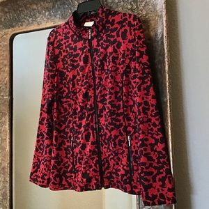 Zenergy by Chico's red/black full-zip jacket sz 1